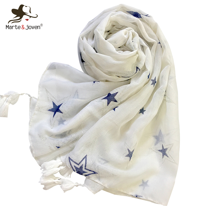 Marte&Joven Star Printing Polyester Long White Pashmina Scarves for Women Spring&Autumn Lightweight Thin Scarf Shawls Wraps