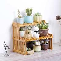 Plant Shelves Flower Rack Display Stand Natural Bamboo Flower pots Storage Shelf Organizer Holder home desk Balcony Patio