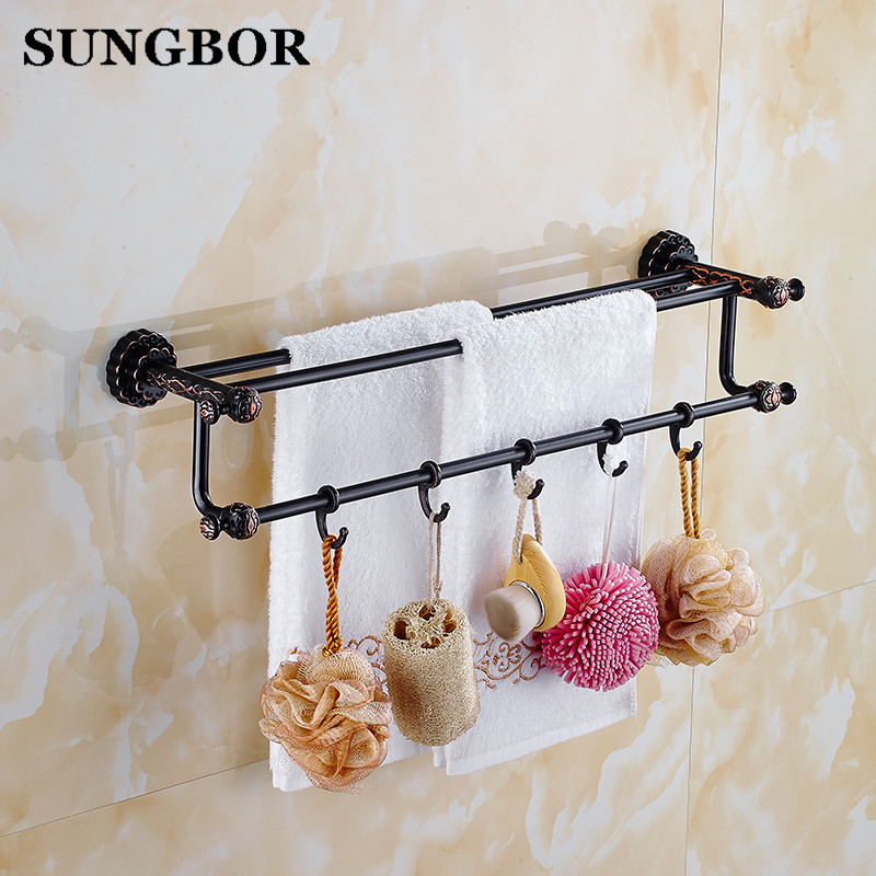 Twin Flowers Series Carving Black Brass Wall Mounted Bathroom Accessories Double Towel Bar Towel Rack Towel Shelf With Hooks black space aluminum wall mounted foldable bathroom towel rack holders shower towel rack shelf bar with hooks