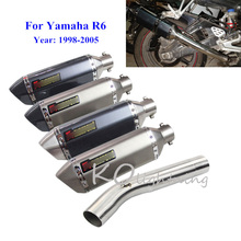 R6 Motorcycle Exhaust Muffler Mid Link Pipe Slip On Exhaust System Modified Exhaust Pipe For Yamaha YZF R6 1998-2005 motorcycle exhaust modified scooter clamp on motorbike mid pipe slip on muffler exhaust mid pipe for yamaha mt 07 mt07 mt 07