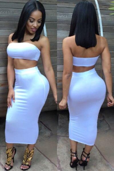 6e450a789f1 FIYOTE HOT Red Blue White Crop Tube Top Bodycon Skirt Set LC60479 Wholesale  Woman Two-piece Dress conjunto cropped e saia