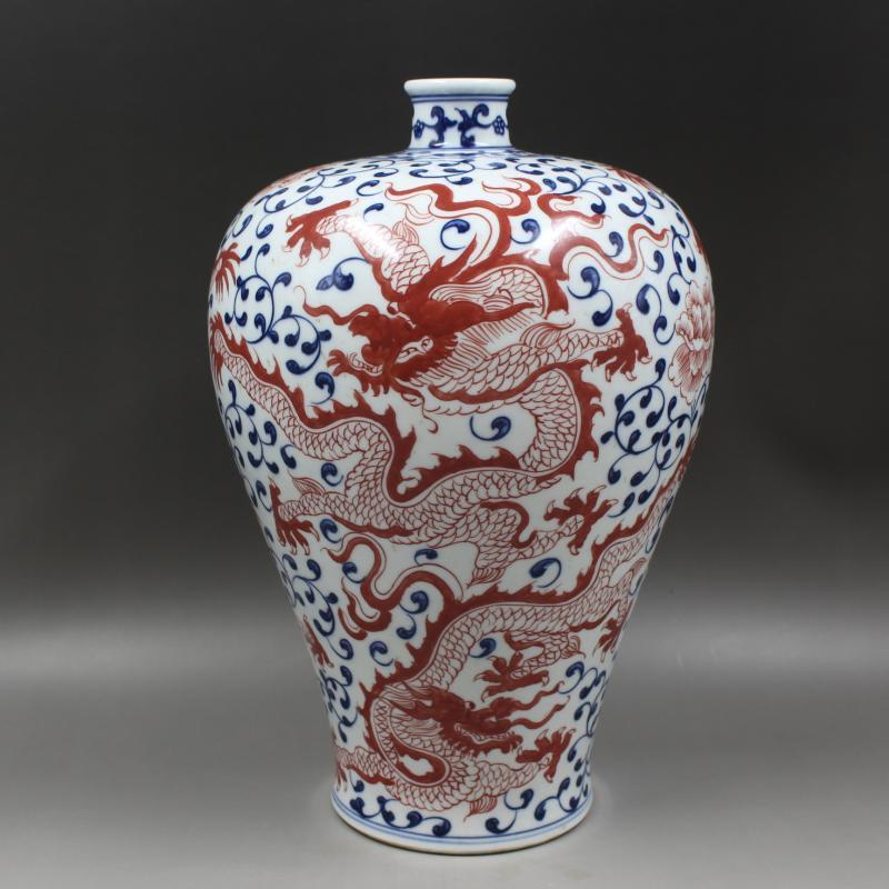 Antique vase en porcelaine qingdynastie, dragon bleu & rouge bouteille 20, artisanat peint à la main, décoration, collection & parure, livraison gratuite