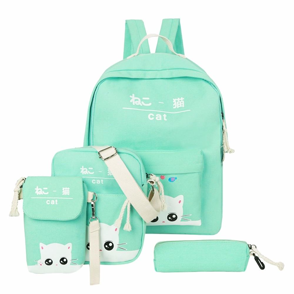 4pcs/set Women Canvas Backpack Teenage Girls Cute Cat Print School Backpacks Female Casual Rucksack Sac A Dos Femme