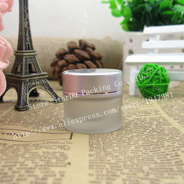 Free shipping 3pcs 15g frosted glass jars, 15ml frost cream jars, skin care cream bottles, 0.5oz cosmetic containers