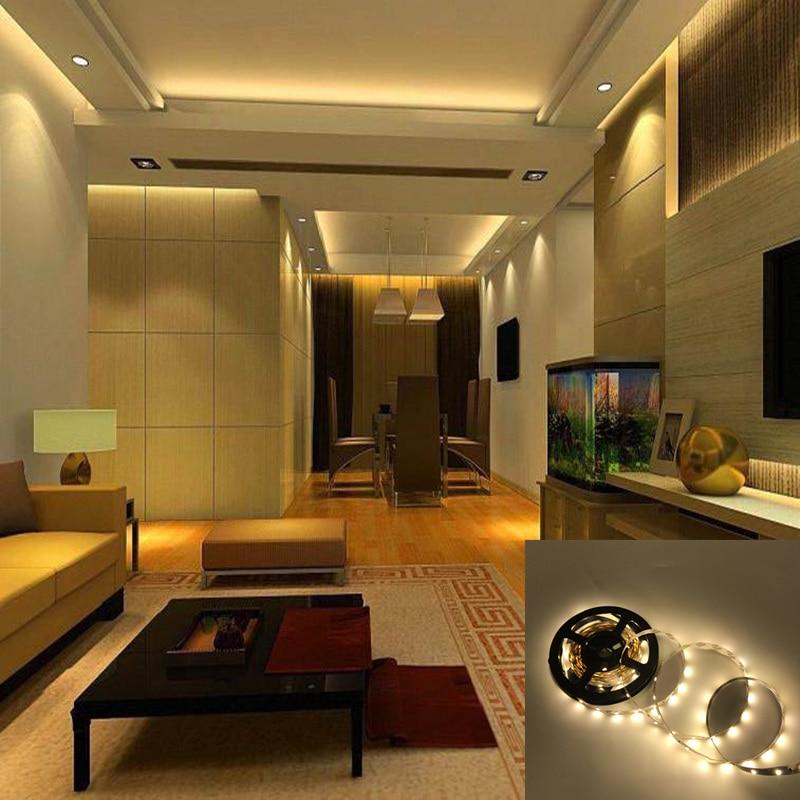 Us 1 89 5 Off Led Strip Smd 3528 Dc12v 60leds M 5m Lot Flexible Led Light Warm White Home Living Room Bedroom Ktv Bar Decoration In Led