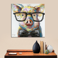 Abstract Art Prints Pig Wearing Glasses Cute Pig Picture Funny Animal Posters Decor Children Bedroom Framed