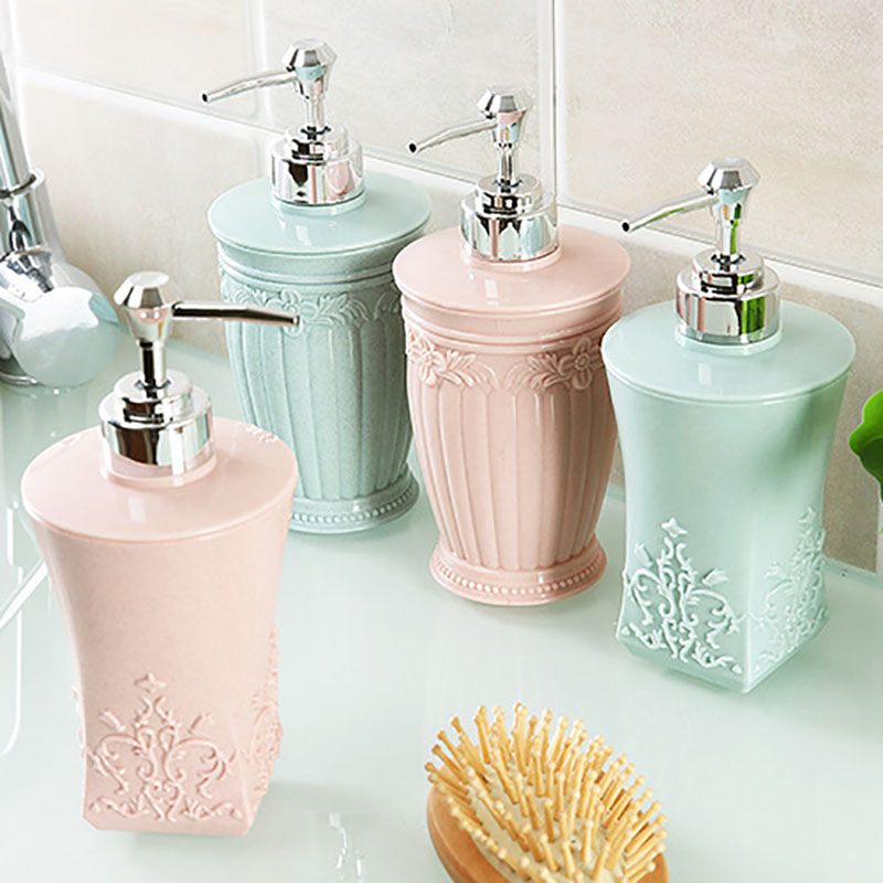 400ML Pressing Carved Plastic Refillable Cream Lotion Dispenser Bottles Container For Cosmetic Shampoo Liquid Soap Shower Gel