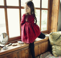 Little Girl Wine Lace Princess Dress With Big Bow Baby Children Winter Velvet Prom Dresses Kids