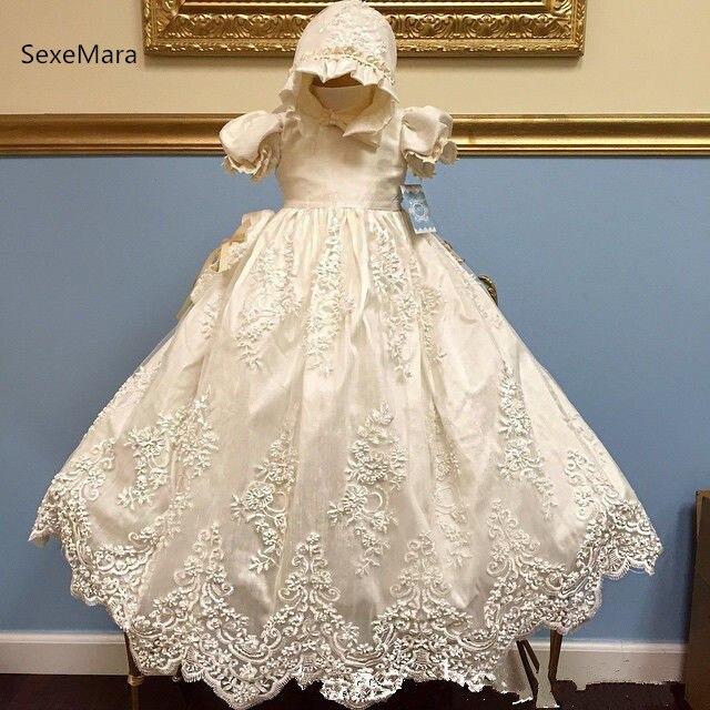 Новые для маленьких девочек платье на крестины Крещение платье Кружева Аппликация Белый Кот Детские Крещение платье 3 мес. 6 мес. 9 мес. 12 мес.