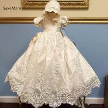 16e73b29f Nuevo Bebé niñas bautizo vestido bautismo vestido de Apliques de encaje de  marfil blanco bebé vestido de 3 M 6 M 9 M 12 M 24 M c.