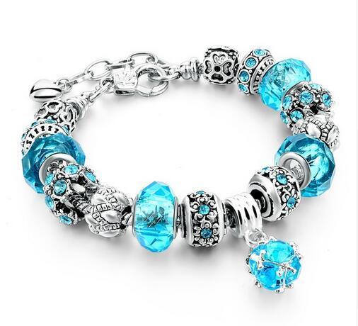 Szelam 2017 New Crystal Beads Bracelets Bangles Silver Plated Charm Bracelets For Women Friendship Pulseras SBR160014 3