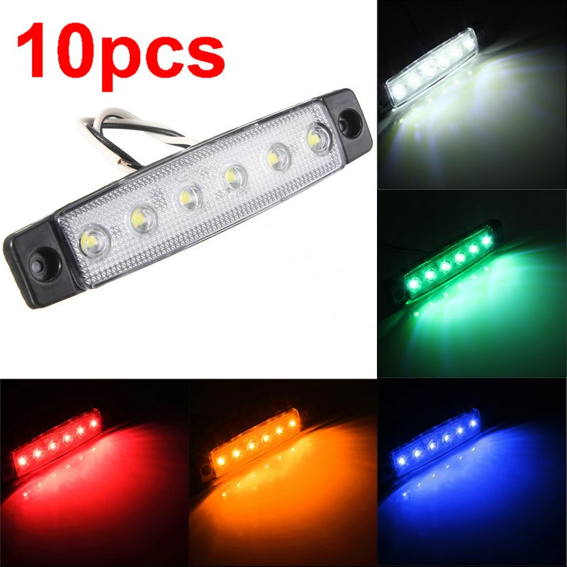CYAN SOIL BAY 10pcs 6 LED Red White Blue Amber Clearence Car Truck Bus Lorry Trailer Side Marker Indicators Light Lamp 24V 12V cyan soil bay car auto t10 25w 30 led smd 4014 lamp parking reverse backup light w16w fog bulb ice blue red amber yellow white