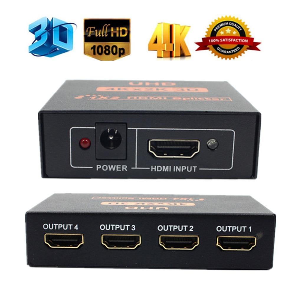 LNOP 4K HDMI Splitter 1X2/1X4 port HDMI switch switcher Repeater Amplifier 3D UHD 1080p HDMI adapter