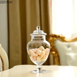 Image 3 - ヨーロッパスタイル透明ガラスキャンデーの瓶とガラスカバー結婚式のデザートディスプレイスタンドホームキャンディー貯蔵タンク