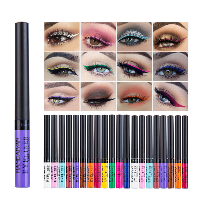 HANDAIYAN Colorful Eyeliner Pencil Eyes Cosmetics Brown Liquid Eye Liner Pen Makeup Color Eyeliners Waterproof Felt-tip Eyliner image
