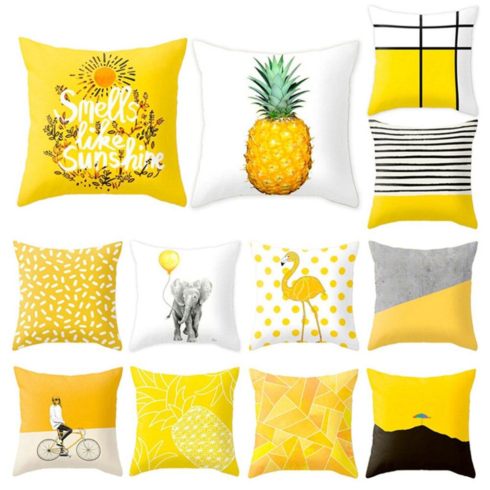 HTB1iQ2DXq5s3KVjSZFNq6AD3FXag Polyester Geometric Cushion Yellow Pineapple Pillow Decorative Cushion for Sofa DIY Printed Pillow Seat Chair Cushion