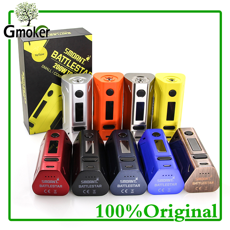 100% Original Cloupor Smoant Battlestar Box Mod 200W TC Mod Vaporizer 18650 Mod For Electronic Cigarette Vape battery rx2/3