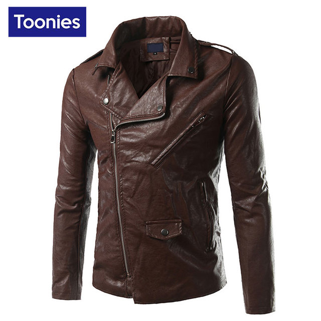 Toonies Leather Jacket Men Turn-down Collar Jaqueta De Couro Masculina PU Mens Leather Jackets 2017 New Fashion Veste Cuir Homme
