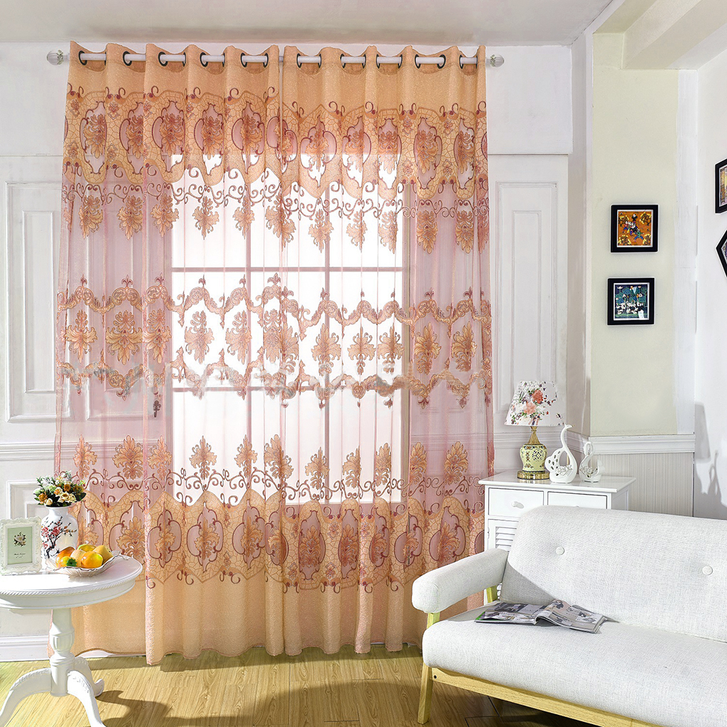 Factory Price! Home Decor Floral Print Rustic Curtain Tulle ...