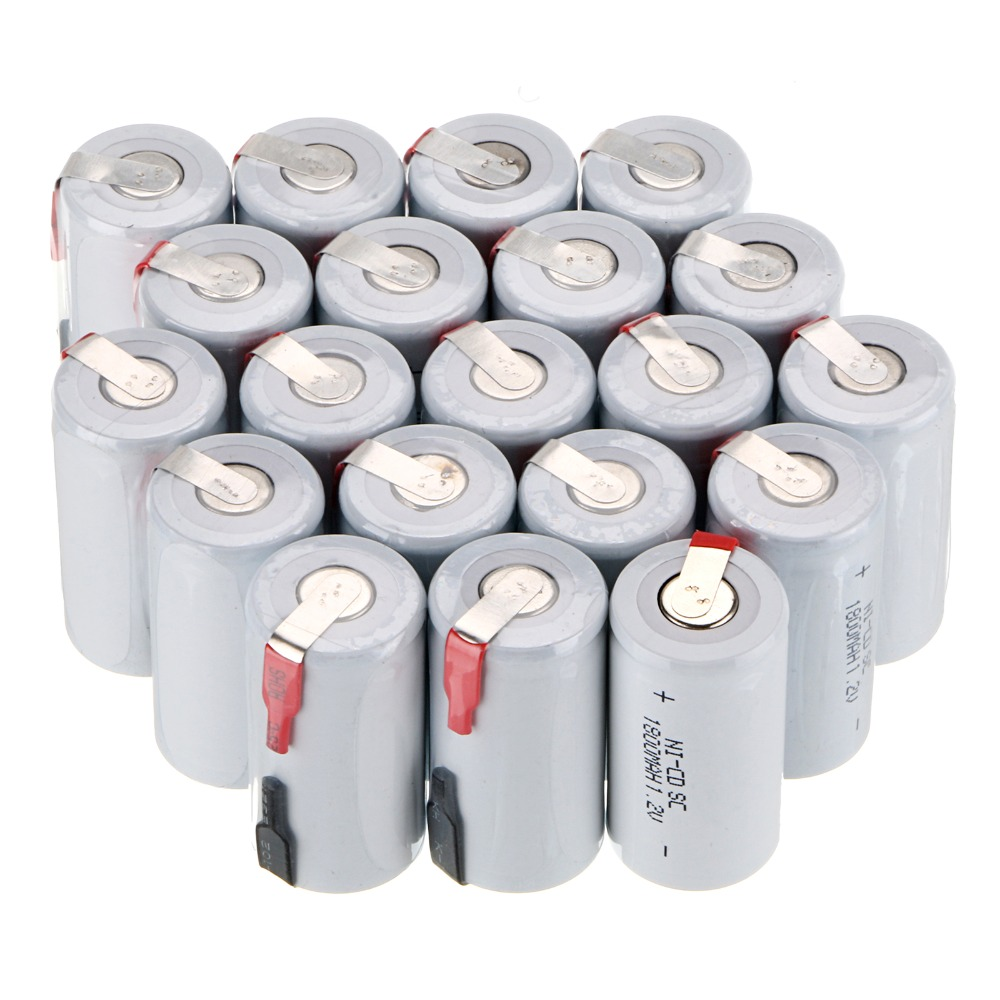 20 pcs SC 1800mah 1.2v battery NICD rechargeable batteries for emergency light toy equipment power for electric screwdriver