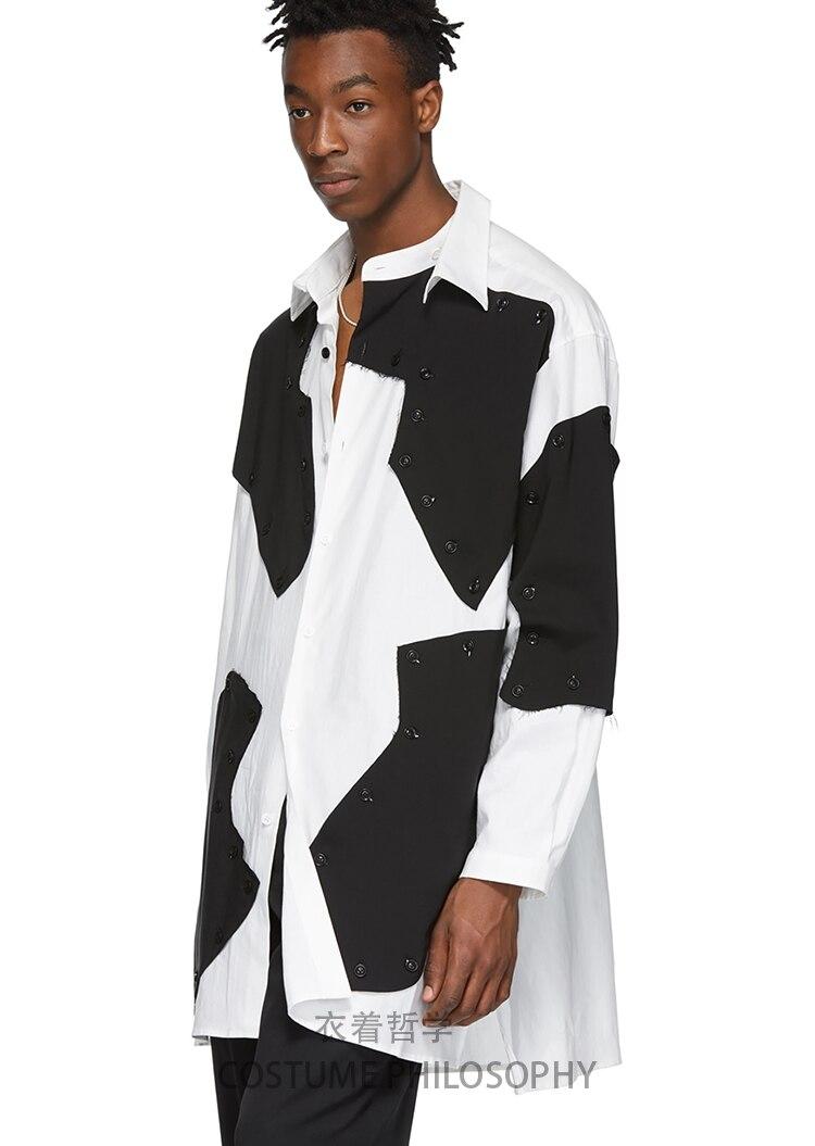 Mannen Shirt Stiksels Blokkerig Losse Asymmetrische Onregelmatigheid Volledige Mouw Vierkante Kraag Patchwork Melkkoe Patroon Ontwerp Shirts - 3