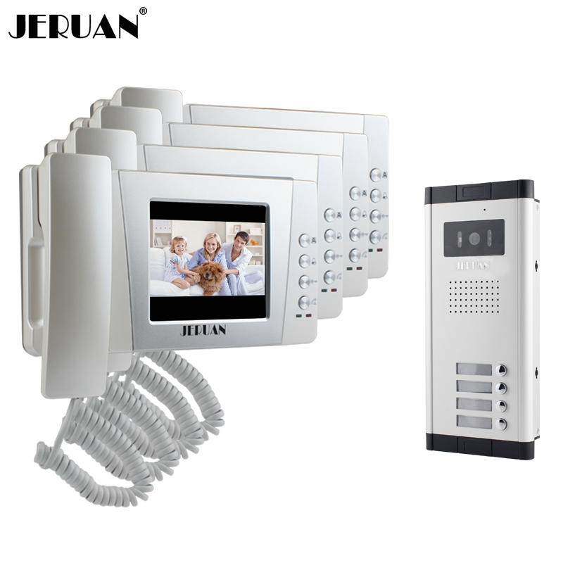 JERUAN Apartment 4.3 inch LCD color Video Door Phone Intercom System 4 Handheld Monitor 700TVL IR Night Vision Camera In stock tmezon 4 inch tft color monitor 1200tvl camera video door phone intercom security speaker system waterproof ir night vision 4v1