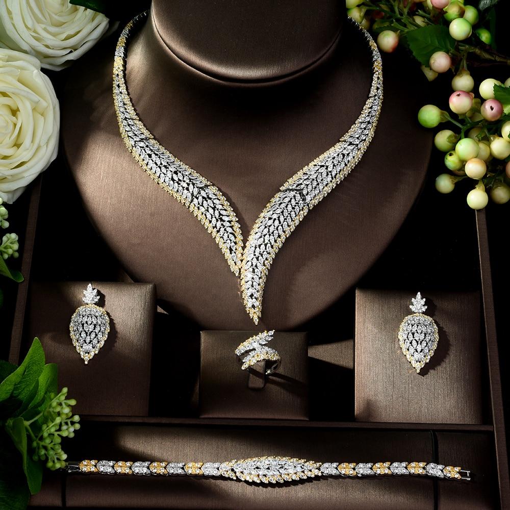Takı ve Aksesuarları'ten Takı Setleri'de HIBRIDE Zarif Kübik Zirkon 4 adet Kolye takı seti Yaprak Tasarım Düğün gelin seti Bayan Parti Elbise için Bijoux Femme N 1022'da  Grup 2