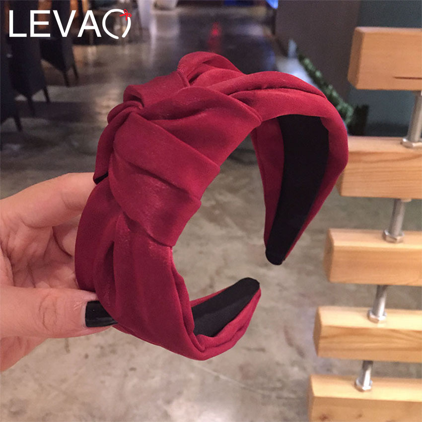 Levao Satin 4 CM Wide Headband For Women Hair Accessories Solid Color Knotted Hairband Hair Hoop Women Hair Bands Bezel Headwear