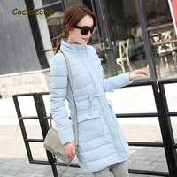 Cockscomb Brand 2018 New Collection Concave convex Fabric Winter Parkas Women Stand Collar Pockets Cotton Wadded Coat Outerwear