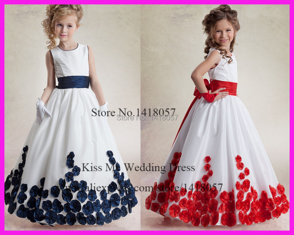 2015 Cute Princess Navy Blue Red Sleeveless Long Baby   Flower     Girl     dresses   Beads Bow Junior Bridesmaid   Dress   For Weddings LG111