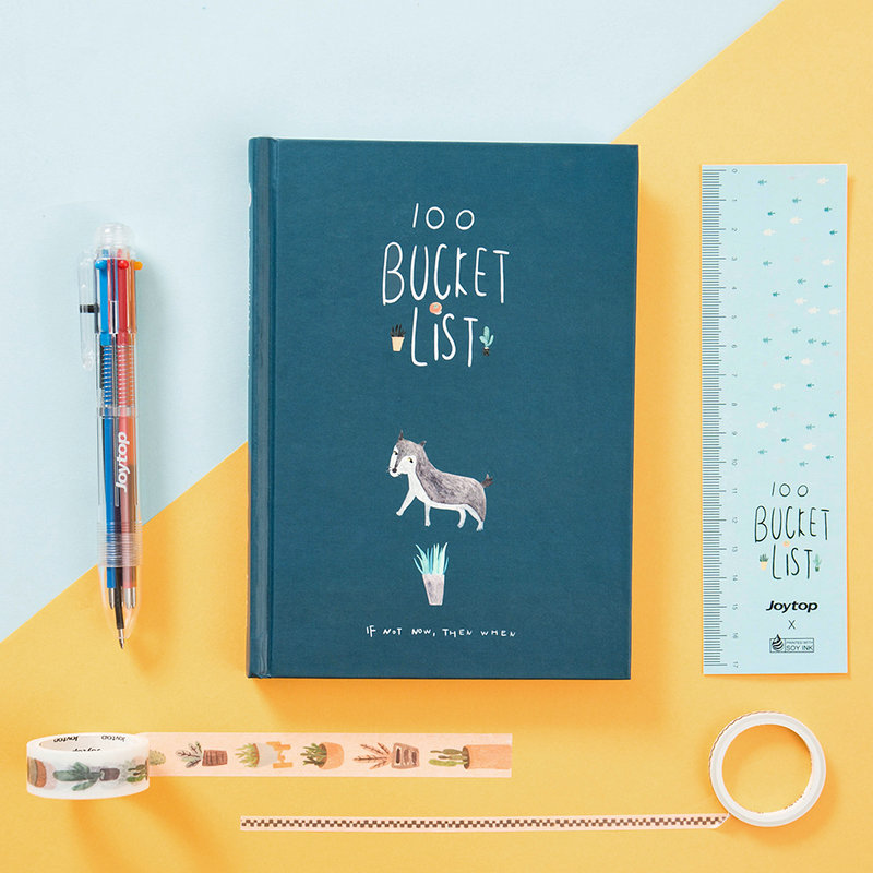 New Cute Notebook 100 Wish Bucket List Book Planner Gift Colorful Boxed Daily Weekly Planner Agenda 2018 Creatives Defter HJW002 cute colorful floral design portable daily 2018 planner lovely doll girl scheduler 256p 11 8 15 4 2 3cm agenda gift