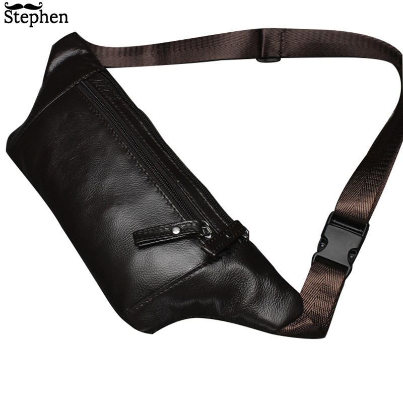 Genuine Leather Men's Waist Packs Male Fanny Pack Belt Bag Phone Pouch Bags Travel Waist Pack Male Small Waist Bag Leather Pouch