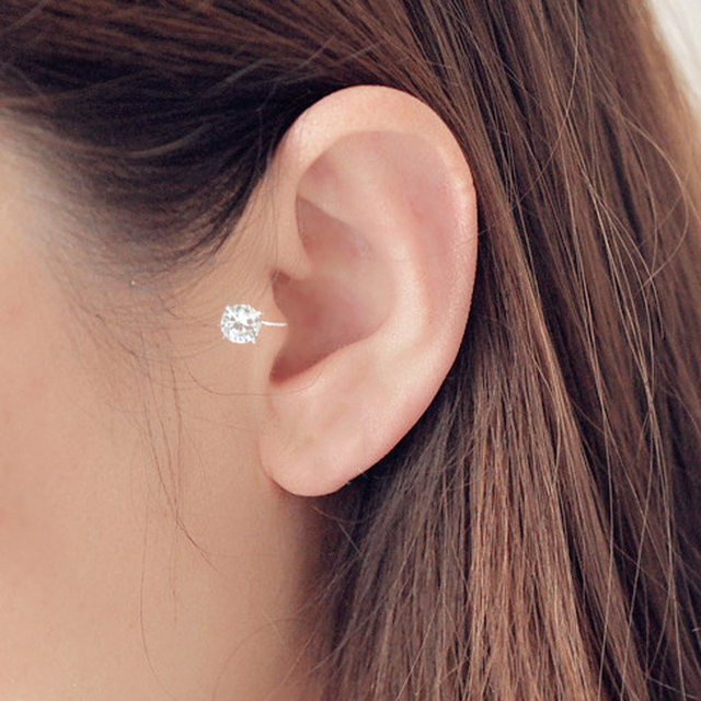 Top Quality AAA Cezch Zircon Silver Filled Tragus Non Piercing Clip Earring 1