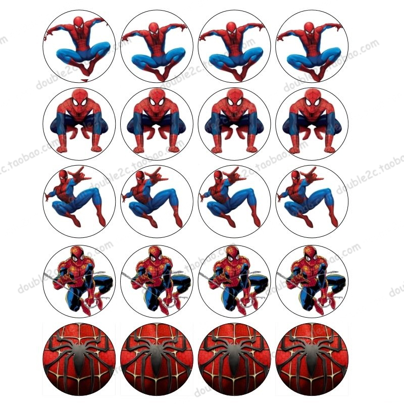 "Spiderman Edible Wafer Paper for Cup Cake Topper 2"" 20pcs ..."