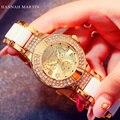 Hannah Martin Новый 2017 Мода Повседневная Часы Золотые Женские Подарочные Часы Женщины Горный Хрусталь Часы женские элегантный Кварцевые Наручные Часы