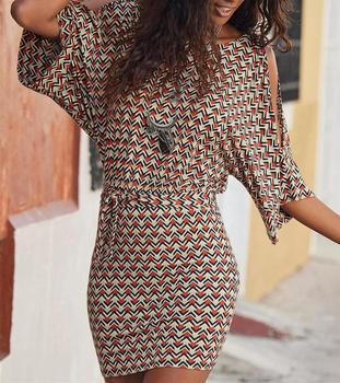 Summer Print Casual Dresses Women Beach Style Vestido O-Neck Sashes Batwing Hollow Out Sleeve Sexy Sheath Bodycon Mini Dress 2