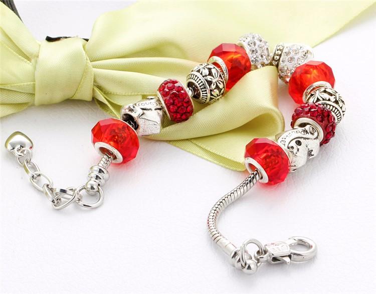 17KM Vintage Silver Color Charm Glass Bracelets For Women 17 New Crystal Heart Beads Bracelets & Bangles Pulseras DIY Jewelry 44