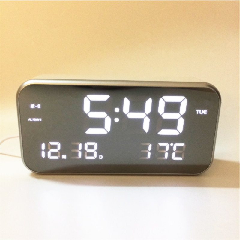 Hot sale! big numbers Led alarm music clocks temperature date LED digital desktop bedroom clock mirror surface 8801awhite-Clock