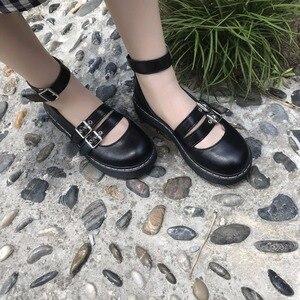 Image 3 - 로리타 신발 Uwabaki JK 라운드 발가락 버클 스트랩 레이스 업 일본 학교 학생 제복 드레스 여자 블랙 귀여운 로우 컷 펌프