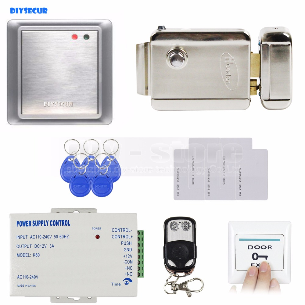 DIYSECUR Complete 125KHz RFID Keypad Access Control System + Electric Lock + Power Supply Security Product 8168A diysecur magnetic lock door lock 125khz rfid password keypad access control system security kit for home office