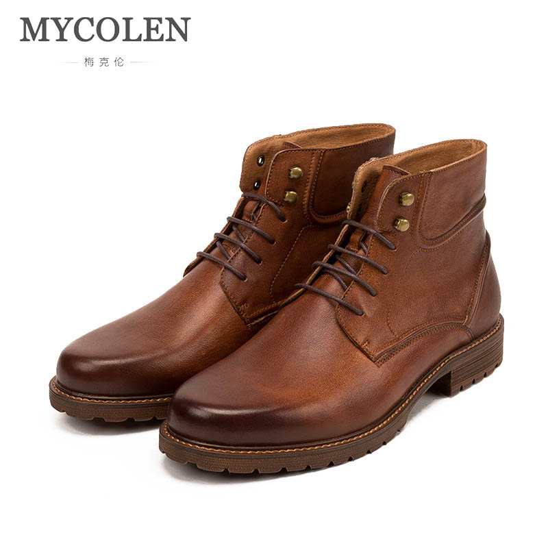 MYCOLEN 2018 Winter Warm Male Boots For Men Casual Shoes Work Adult Quality Walking Rubber Brand Safety Footwear Sneakers 2018 winter fur warm male high top shoes adult flock sneakers men designer shoes casual flat plush walking brand footwear