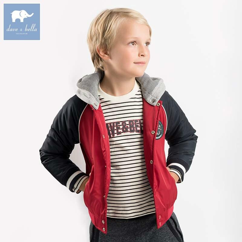 DBK8161 dave bella 5Y-13Y winter baby boys jacket children padded coat kids hooded outerwear
