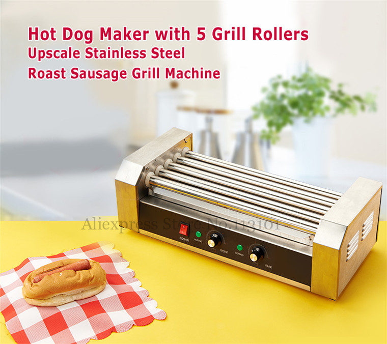 Electric Hot-dog Grill Commercial Hotdog Maker Warmer Cooker Grilling Machine without Cover 5-roller