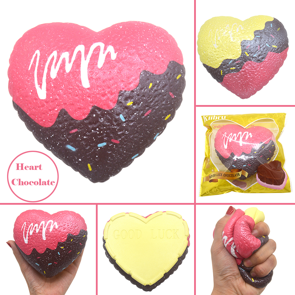 12 PCS/Lot Kiibru Slow Rising Good Luck Heart Chocolate Squishy Scented Soft Original Package Kids Gift Toy Wholesale