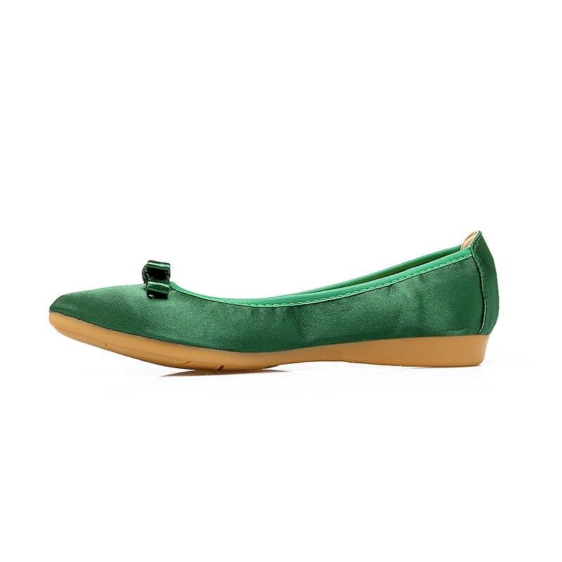 2019 Spitz Frühling Frauen Schuhe Seide Bogen Slip Auf Müßiggänger Korean Stil Flache Damen Schuhe Faltbare Ballett Frauen Flache WSH2543