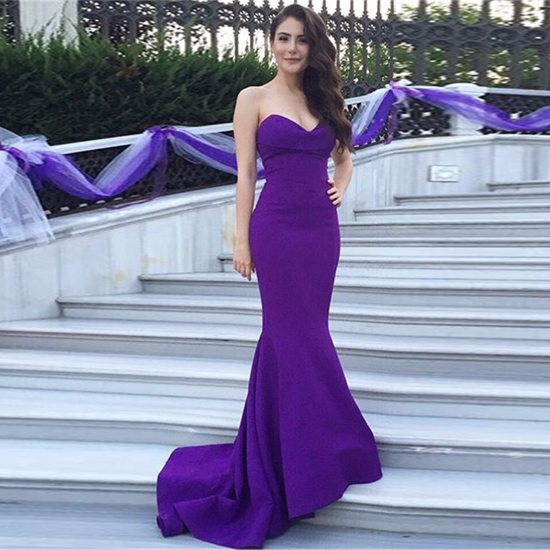 2019 Custom Made Simple Purple Mermaid   Evening   Gown Satin Sweetheart Zipper Long Prom   Dress   For Wedding WL72
