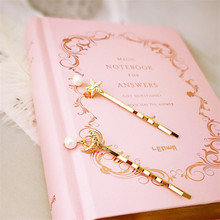 joker sweet delicate Metal Hair Pin Fashion Star Moon Pearl Clip Gold Color Pins Girls HairAccessories Hot Sale