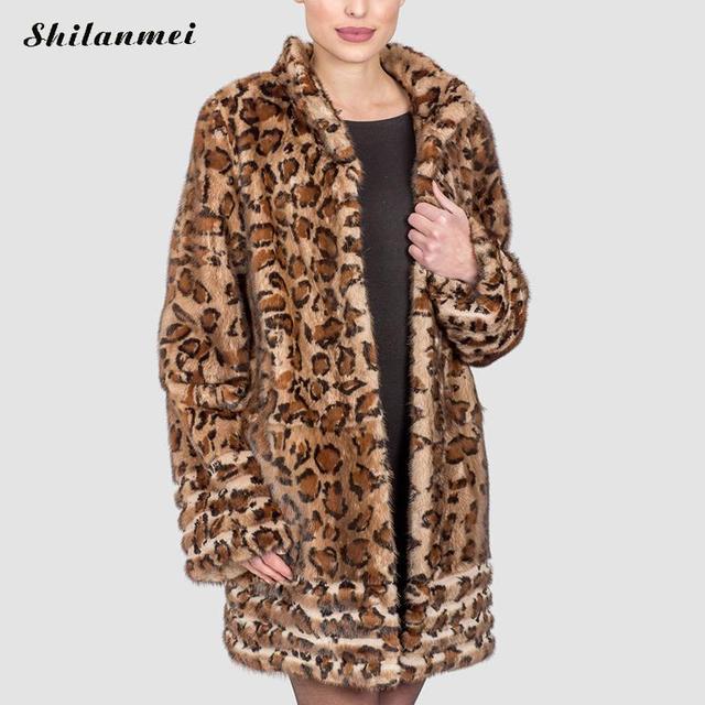 ddde8679c6b 2017 Europe Fashion Women plus size Long Faux Fur Leopard Coat Pelliccia Women  Faux Fur Jacket Warm Outwear Casaco De Pele S-4XL