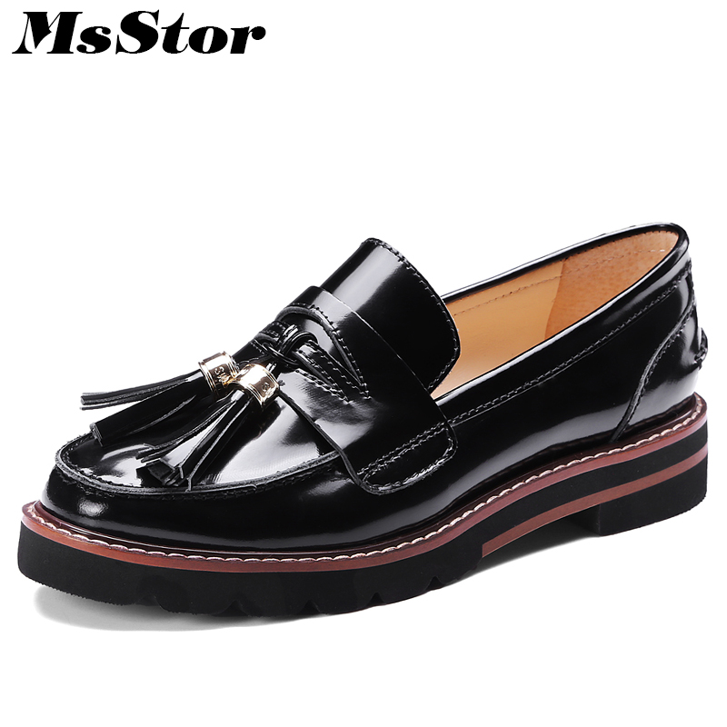 MsStor Round Toe Flats Shoes Woman Casual Fashion Metal Decoration Fringe Leather Flat Shoes Women Thick Bottom Zapatos Mujer instantarts women flats emoji face smile pattern summer air mesh beach flat shoes for youth girls mujer casual light sneakers