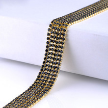 Single row rhinestones chain black crystals gold claw base cup chain stones and crystals strass sew on rhinestones for germent certain characterizations of tungsten ditelluride single crystals